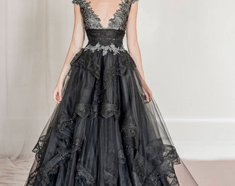 Black tulle and lace evening gown, black wedding dress, black wedding gown, black prom dress, red carpet dress