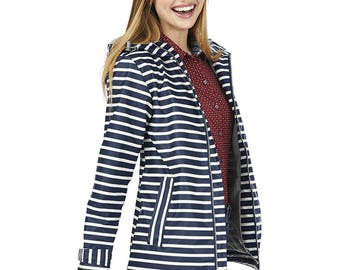 Monogrammed Charles River New Englander Navy and White Rain Jacket