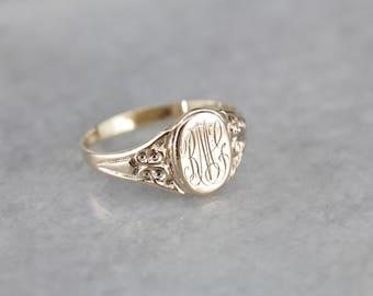 "Victorian ""RMG"" Monogram Antique Rose Gold Signet Ring JF0MKQ-P"