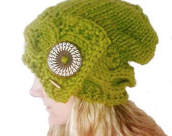 Cilantro Green Oversize Cable Knit Chunky Winter Slouchy Beanie with Button, Buttoned Baggy Winter Hat with Cabled Brim, Boho Hand Knit Hat