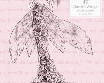 Digital Stamp - Aurora Wings Fantasy Art - Queen of the Autumn Forest - Instant Download for Arts and Crafts - Detailed Adult Coloring Page