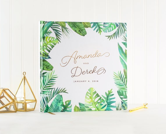 Wedding Guest Book Gold Foil botanical wedding guestbook personalized wedding photo album palm tree beach sign in book gold photo guest book