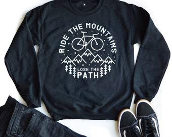 Bike Sweatshirts, Hiking sweatshirt, Mens Graphic Sweatshirt, Black Printed Sweatshirts, Bike Jumper, Black Graphic Sweatshirt.
