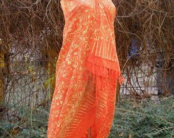Sarong, wraparound skirt, scarf, shawl, orange