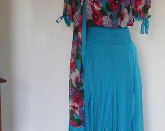 Diane Freis 1980's Boho Silk Dress w/Scarf