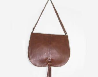Crossbody brown leather bag