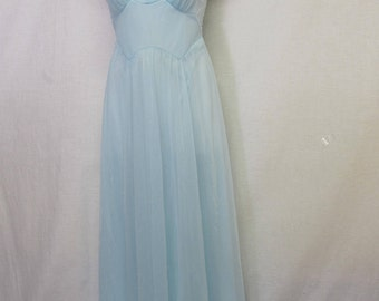 Blue Nightgown Mad Men Nightgown Chiffon Nightgown Vanity Fair