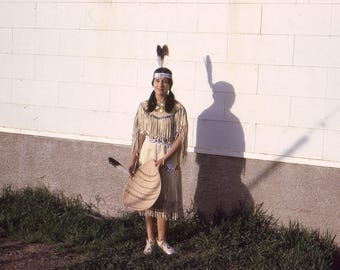 Vintage Photo Slide Young Girl Dressed as Native American Princess Shadow on Wall 1950's, Original Found Photo, Vernacular Photography