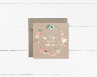 Thank You For Being My Bridesmaid or Maid of Honour Floral Wreath Cards