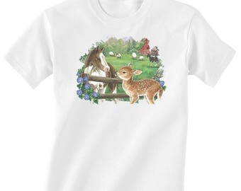 Toddler / Kids Equestrian Shirt - Long or Short Sleeve T-Shirt with Foal and Bunny Rabbit - Horse Clothing for Children