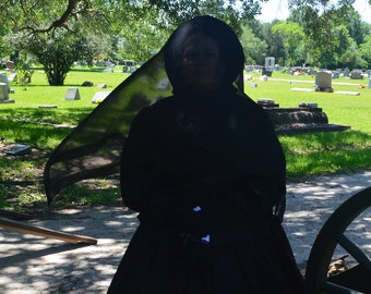 Other colors available Silk Civil War Reenactment Pioneer Victorian Goth Widow Weeds Mourning Veil Ladies Juniors Day Remembrance