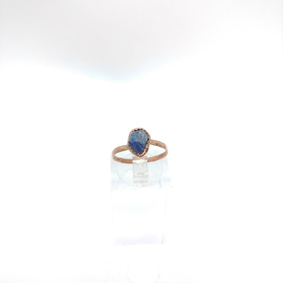 Raw Crystal Ring | Raw Sapphire Ring | Copper Ring Sz 5.75 | Rough Sapphire Ring | Rustic Womens Ring | Blue Sapphire Crystal Ring