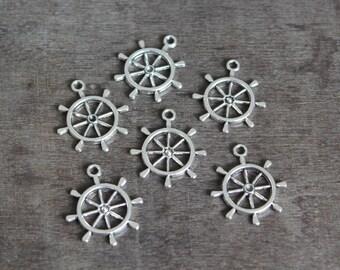 SALE - Anchor Wheel Charms (6 pcs) 28 x 20 mm.