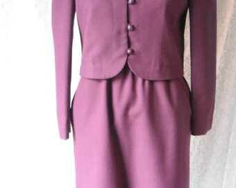 Purple Sherbet Skirt Suit 60s 70s Tailored Cropped Blazer S XS