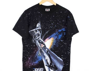 SILVER SURFER all over print t shirt - vintage 90s - space - marvel comics