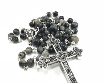 Black Gemstone Rosary; Black Jasper Catholic Rosary, Black Stone Rosary, Traditional Rosary, Catholic Rosary,