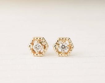 14k solid gold diamond hexagon studs earrings, white diamond, antique inspired earrings, white gold rose gold studs earrings, mil-e101-2mm