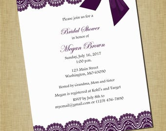 Plum Lace + Bow Bridal Shower Invitation
