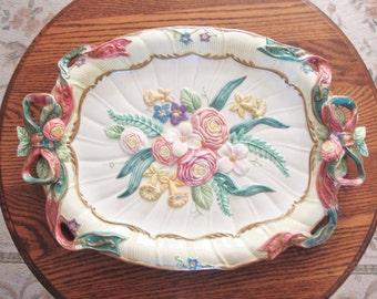 "Fitz and Floyd Platter, Large, Oval, Woodland Spring Grandiflora, 19"", Floral Serving Platter, Fitz Floyd"