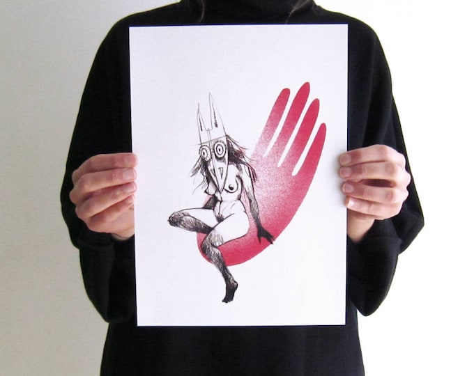 Illustration masked woman on red hand, A4 eco-friendly digital Print on recycled paper