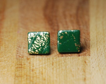 Forest Green Earrings - Polymer Clay - Fimo Stud Earrings - Hypoallergenic Stud Earrings - Handmade Earrings - Statement Earrings -