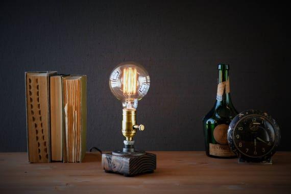 Edison lamp/Rustic Home decor/Farmhouse decor/Table lamp/Industrial lighting/Steampunk pipe light/housewarming/gift for men/desk accessories