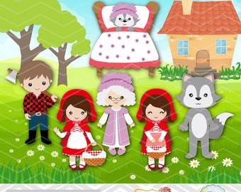 Instantánea descargar Little Red Riding Hood Digital Clip Art, CAPERUCITO ROJA campana Clipart, Little Red Riding Hood partido 0250