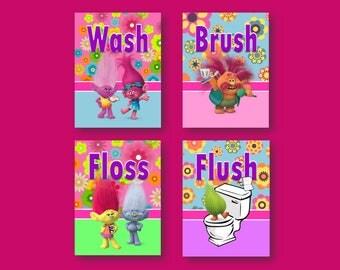 """Trolls Bathroom Decor - Set of Four (4) 5""""x7"""" or 8""""x10"""" Prints"""