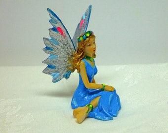 Fairy Figurine Sitting Fairy Accessory Fairy Accessory Fairy in Bright Blue Dress Fairy Garden Kit Fairy House Fairy Supply Miniature Fairy