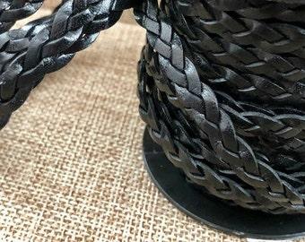 1 Yard 5mm Flat Braided Leather Cord - Black - Genuine Indian Leather - LCF5-3024