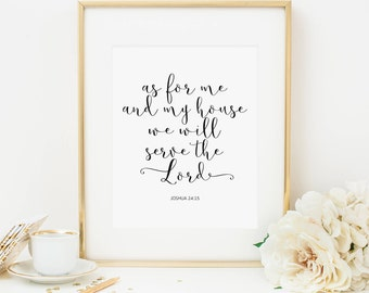 As For Me And My House Printable Joshua 24:15 Scripture Wall Art Scripture  Prints