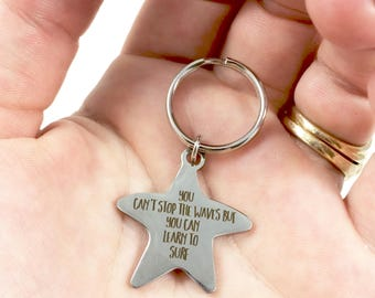 Encouragement Keychain Star Keychain Wave Keychain Surf Keychain Cant Stop Waves Keychain Gift for Mom Bereavement Gift Grief Gift Christmas