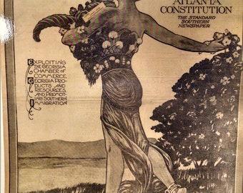 1914 Vintage Newspaper Atlanta Constitution-Georgia Prosperity-Women's College