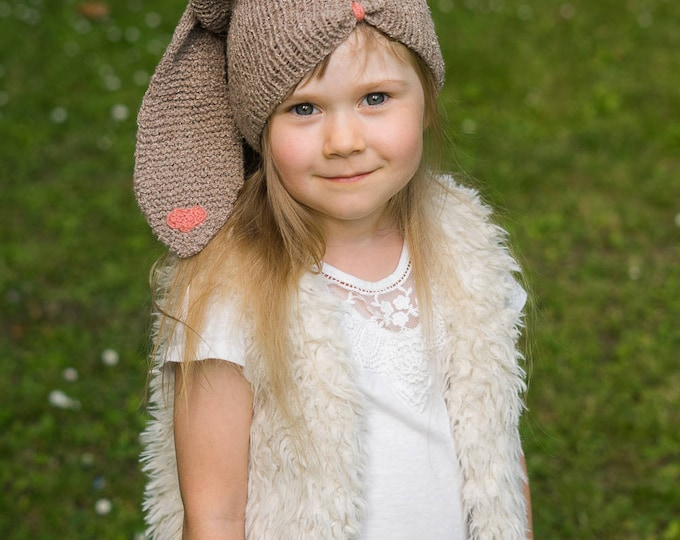 KNITTING PATTERN bunny slouch hat Sebastian (baby / toddler/ child/ woman sizes)