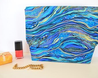 Teal blue clutch, Blue toiletry bag, teal cosmetic bag, gold swirl evening bag, make up pouch, blue green clutch,