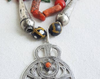 Aurea. scented beads,corals and old silver  necklace