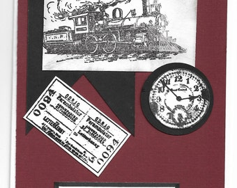 vintage train capture the moment steampunk handmade greeting card
