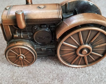 Vintage Banthrico Incorporated John Deere tractor bronze coin bank