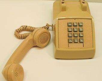 Vintage ITT 1984 Two-Tone Tan Push-Button Landline Telephone 2500