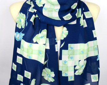 Womens Scarves Blue Floral Scarf Birthday Gift Wife Mom Flower Scarves Fashion Accessories Spring Summer Autumn Gift for Women Christmas