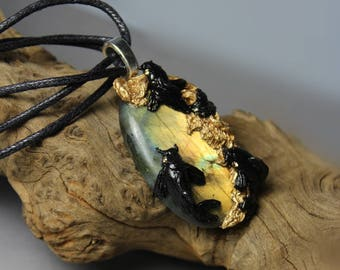 Black Koi with Swarovski Crystals and Labradorite pendant necklace - Handsculpted from durable Clay - OOAK Jewelry