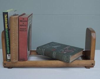 Vintage desktop or tabletop wooden bookshelf