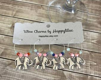 Elephant Wine Charm, Four Wine Charms, Silver Elephant, Wine Charms, Wine Glass Charm, Elephant Decor, Elephant, Safari, Birthday