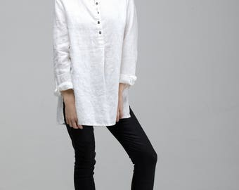 Loose Linen Shirt / White Women Shirt / Oversized Shirt / Oversized White Linen Top / Linen Tunic Top For Women / Soft Washed Linen Shirt