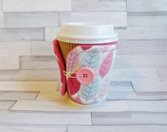 Personalised Cup Cosy - Coffee Cup Sleeve - Tea Cosy - Coffee Warmer - Leaf Gift - Personalised Gift