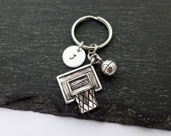 Basketball Keychain, Initial Keyring, Basketball Keyring, Basketball Player, Hand Stamped, Basketball Gifts, Personalised, Sports Gifts