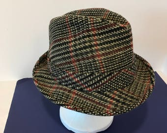 Vintage Men's Crushable Wool Gray and Red Tweed Fedora Hat -Size 6 3/ 4""