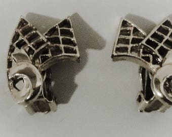 Vintage Silver color clip on earrings