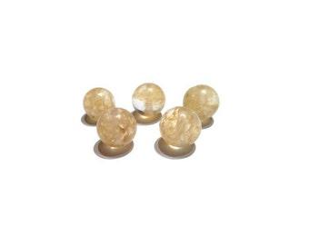 20 Gold Rutilated Quartz beads, genuine Rutilated Quartz beads, Quartz Crystal, gemstone beads, natural stone beads, 8mm or 10mm beads