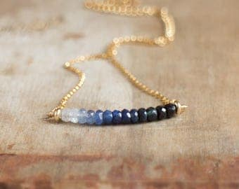 Ombre Sapphire Necklace, Blue Sapphire Necklace in Gold or Silver, September Birthstone, Genuine Sapphire Jewelry, Wife Gift